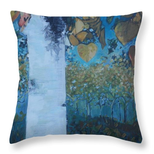 Birch Throw Pillow featuring the painting bIrCh LanE by Cindy Collins