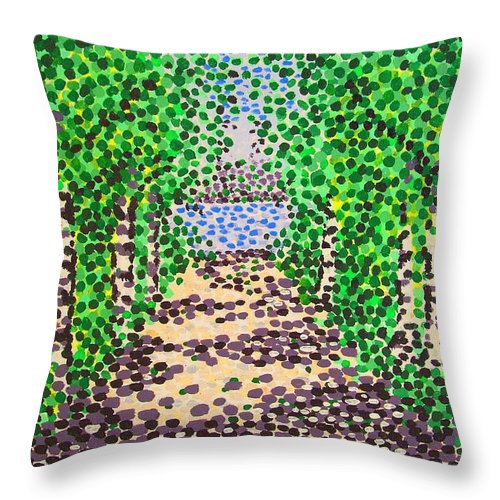 Path Throw Pillow featuring the painting Birch Path by Alan Hogan