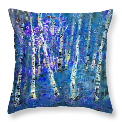 Birch Tree Throw Pillow featuring the painting Birch Trees 3 by Viola El