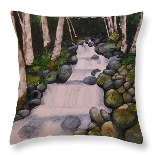 Landscape Throw Pillow featuring the painting Birch Trees By The Brook by Lynn Babineau