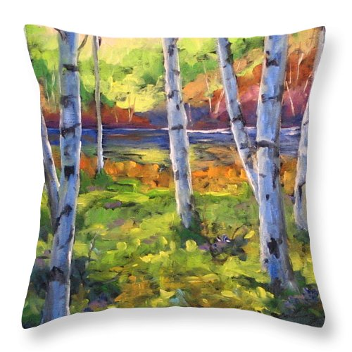 Art Throw Pillow featuring the painting Birches 01 by Richard T Pranke