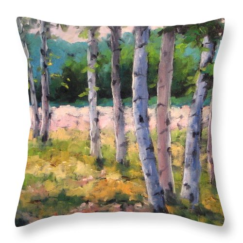 Art Throw Pillow featuring the painting Birches 04 by Richard T Pranke