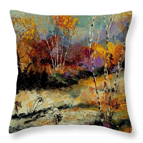 Tree Throw Pillow featuring the painting Birchtrees 459090 by Pol Ledent