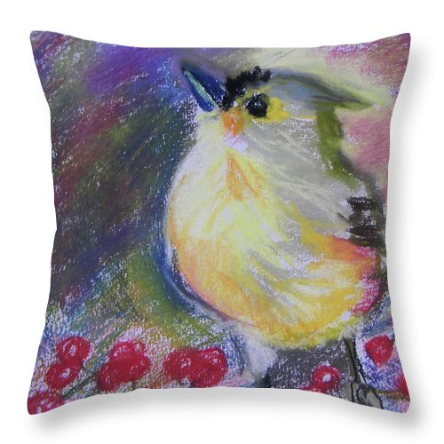 Bird Throw Pillow featuring the pastel Bird And Berries by Emily Michaud
