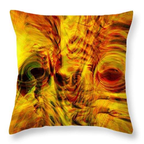 Abstract Art Throw Pillow featuring the digital art Bird Face by Linda Sannuti