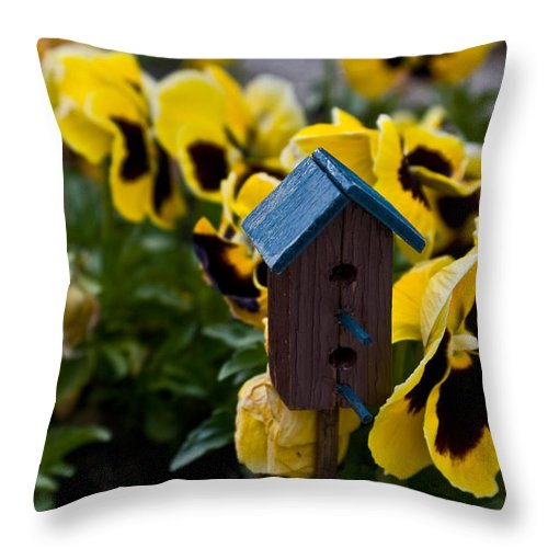 Pansy Throw Pillow featuring the photograph Bird House And Pansey by Douglas Barnett