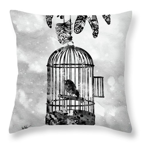 Bird In A Cage With Feathers Throw Pillow featuring the digital art Bird In A Cage-black by Erzebet S
