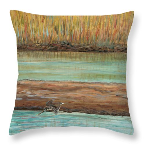 Bird Throw Pillow featuring the painting Bird in Flight by Nadine Rippelmeyer