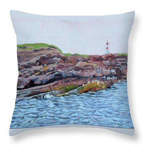 Birds Throw Pillow featuring the painting Bird Island by Carol Morrison