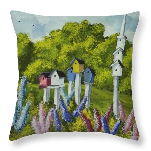 Birdhouses Throw Pillow featuring the painting Bird Metropolis by Charlotte Blanchard