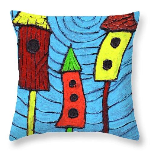 Bird Houses Throw Pillow featuring the painting Bird Neighbors by Wayne Potrafka