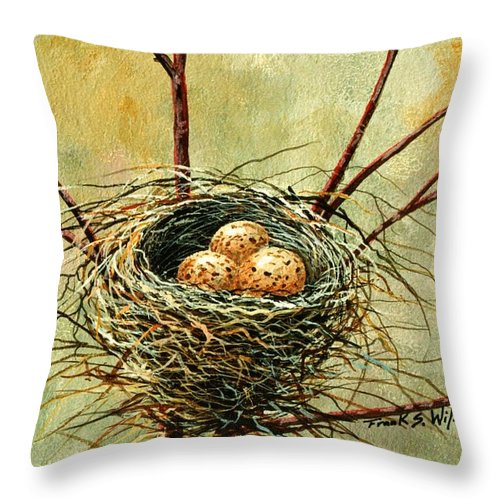 Still Life Throw Pillow featuring the painting Bird Nest by Frank Wilson