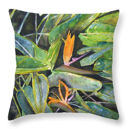 Flower Throw Pillow featuring the painting Bird Of Paradise 2 by Derek Mccrea