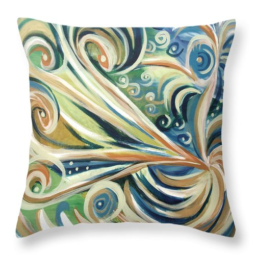 Abstract Throw Pillow featuring the painting Bird Of Paradise 5 by Gina De Gorna