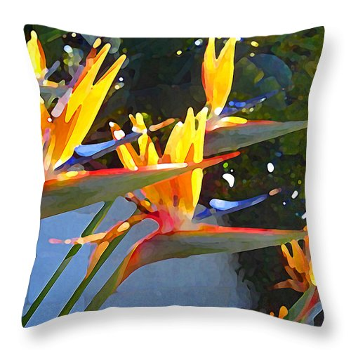 Abstract Throw Pillow featuring the painting Bird Of Paradise Backlit By Sun by Amy Vangsgard