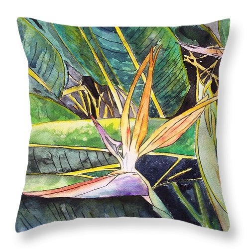 Watercolor Throw Pillow featuring the painting Bird Of Paradise by Derek Mccrea