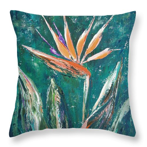 Bird Of Paradise Throw Pillow featuring the painting Bird Of Paradise by Gina De Gorna
