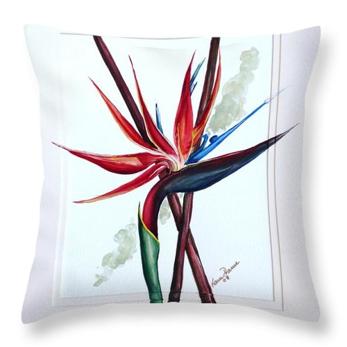 Floral Tropical Caribbean Flower Throw Pillow featuring the painting Bird Of Paradise Lily by Karin Dawn Kelshall- Best