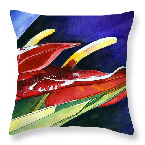 Paradise Throw Pillow featuring the painting Bird of Paradise by Mary Gaines