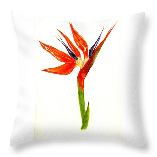 Flower Throw Pillow featuring the painting Bird Of Paradise by Michael Vigliotti
