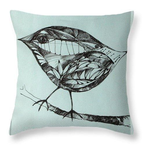 Artwork Throw Pillow featuring the drawing Bird On A Brench by Cristina Rettegi
