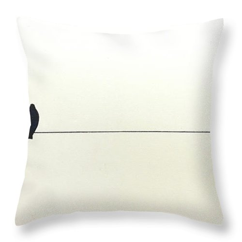 Art Throw Pillow featuring the painting Bird On A Wire by Jack Diamond