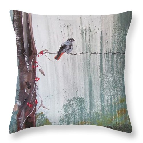 Tree Throw Pillow featuring the painting Bird On A Wire by Susan Voidets