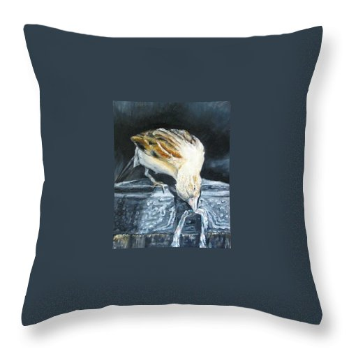Oil Painting On Canvas Throw Pillow featuring the painting Bird Original Oil Painting by Natalja Picugina