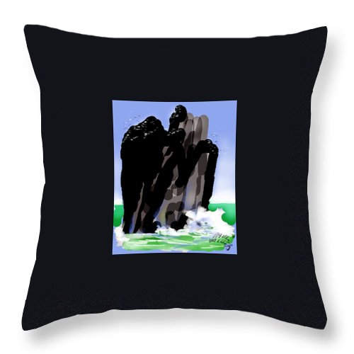 Seascape Throw Pillow featuring the painting Bird Rock Off Marin Headlands by Paul Miller