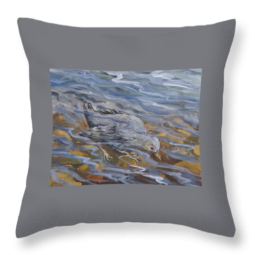 Animal Throw Pillow featuring the painting Bird Underwater by Dawn Senior-Trask