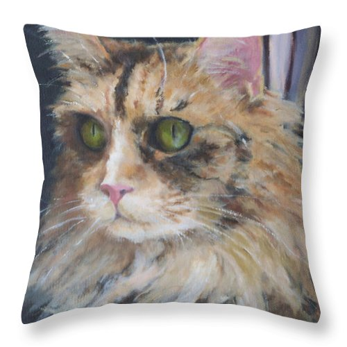 Feline Throw Pillow featuring the painting Bird Watching by Alicia Drakiotes