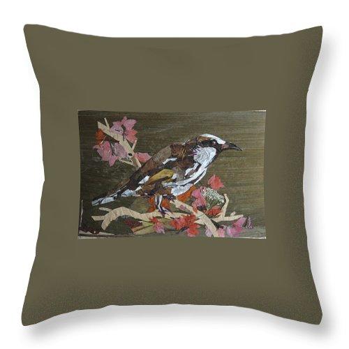 Bird Throw Pillow featuring the mixed media Bird White Eye by Basant Soni
