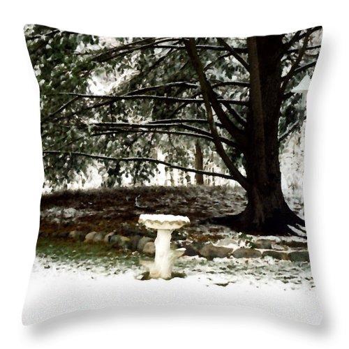 Winter Throw Pillow featuring the painting Birdbath by Paul Sachtleben