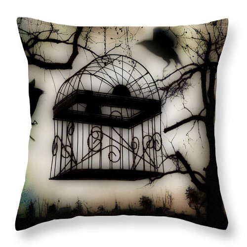 Birds Throw Pillow featuring the digital art Birdcage by Gothicrow Images