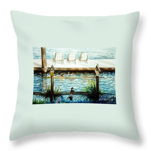 Birdhouse Throw Pillow featuring the painting Birdhouse Haven by Elizabeth Robinette Tyndall