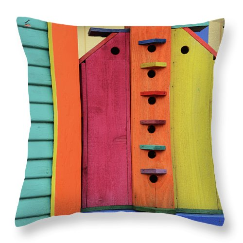 Birdhouse Throw Pillow featuring the photograph Birdhouses For Colorful Birds 5 by Bob Christopher
