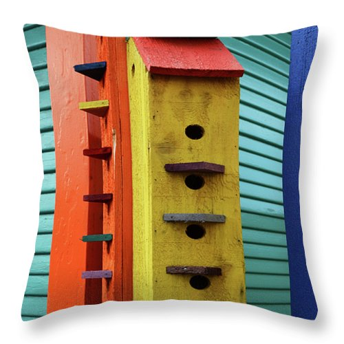 Birdhouse Throw Pillow featuring the photograph Birdhouses For Colorful Birds 6 by Bob Christopher