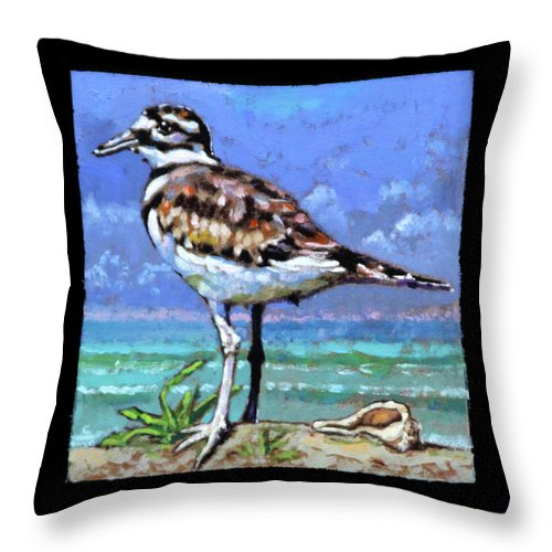 Bird On Beach Throw Pillow featuring the painting Birdman Of Alcatraz Bird 3 Detail by John Lautermilch