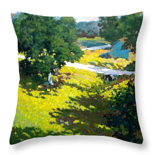 Landscape Throw Pillow featuring the painting Birds Eye View by Kevin Lawrence Leveque