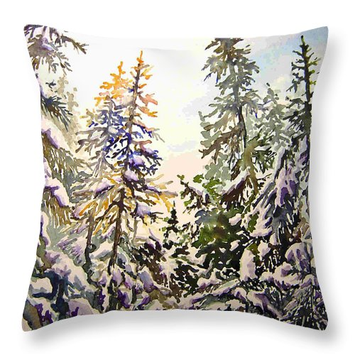 Birds Hill Provincial Park Manitoba Evergreens In Winter Throw Pillow featuring the painting Birds Hill Park One Late Afternoon In January by Joanne Smoley