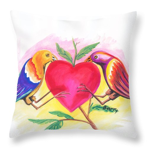 Love Throw Pillow featuring the painting Birds In Love 01 by Emmanuel Baliyanga