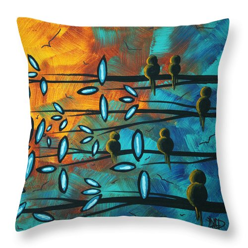 Art Throw Pillow featuring the painting Birds Of Summer By Madart by Megan Duncanson