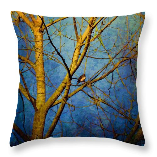Trees Throw Pillow featuring the photograph Bird's The Word by Jan Amiss Photography