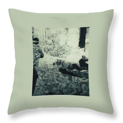 Civil Rights Movement Throw Pillow featuring the painting Birmingham Fire Department Sprays Protestor With High Pressure Water Hoses 1963 by Lauren Luna