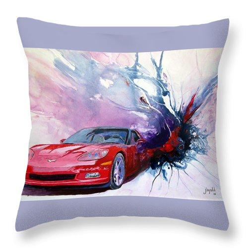 Red Corvette; C6; Throw Pillow featuring the painting Birth Of A Corvette by John Gabb