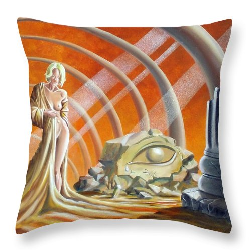 Surreal Throw Pillow featuring the painting Birth Of Orianna by Markkus Lallemand