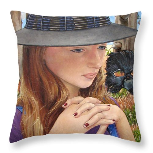 Girl Throw Pillow featuring the painting Birth Of The Scheme by Jerrold Carton
