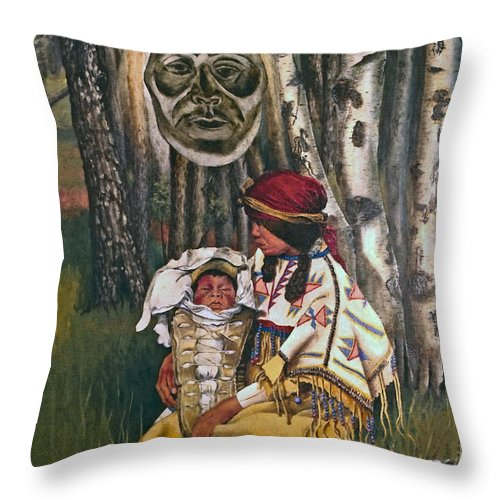 Native American Throw Pillow featuring the painting Birth Spirit by Peter Muzyka