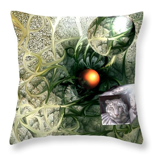 Abstract Nature Red Birth Tiger Spheres Wire Throw Pillow featuring the digital art Birth by Veronica Jackson