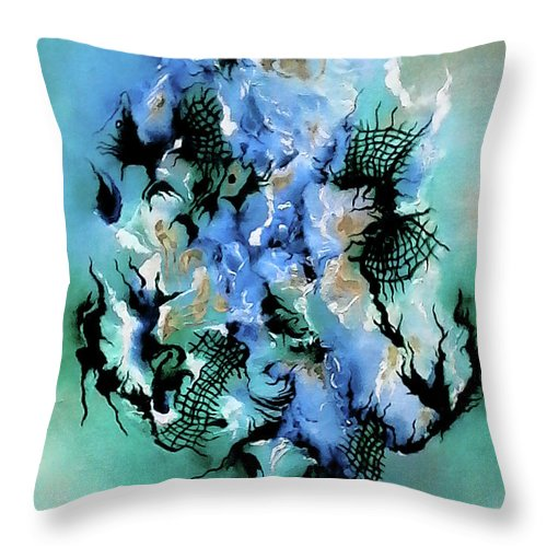 Birth With Expression Throw Pillow featuring the painting Birth With Expression by Carmen Fine Art
